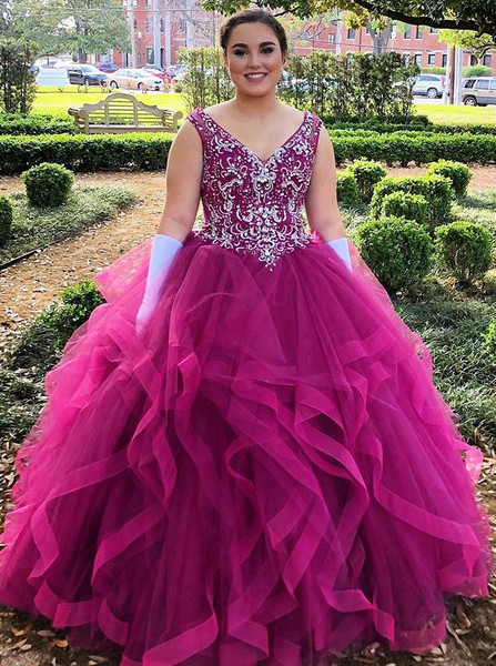 Beading Asymmetry Fuchsia Ball Gown V-Neck Tulle Quinceanera Dress 02dfd3d9b