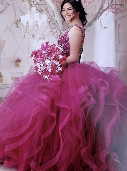00cf4c2e171 Beading Asymmetry Fuchsia Ball Gown V-Neck Tulle Quinceanera Dress