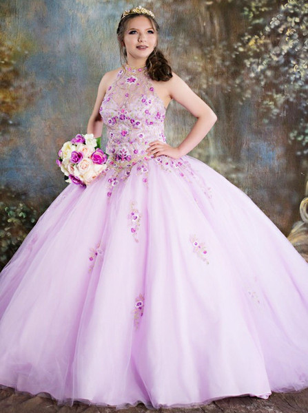 223bd951f3c6 Appliques Ball Gown Jewel Pink Tulle Quinceanera Dress