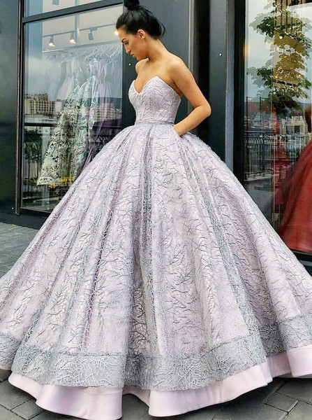 e6c3ebed7e8 Sweetheart Lavender Ball Gown Lace Quinceanera Dress with Pockets