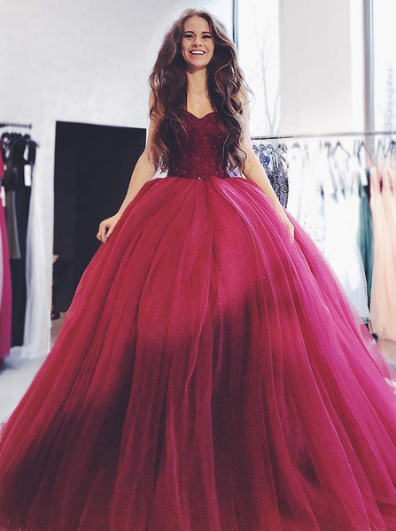 90cbbf6642 Long Wine Tulle Ball Gown Sweetheart Quinceanera Dress with Beading