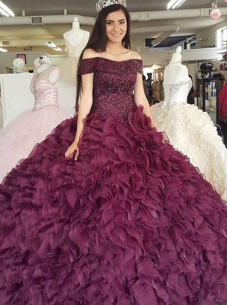 72b16e9f92a Burgundy Organza Ball Gown Off-the-Shoulder Quinceanera Dress with Beading