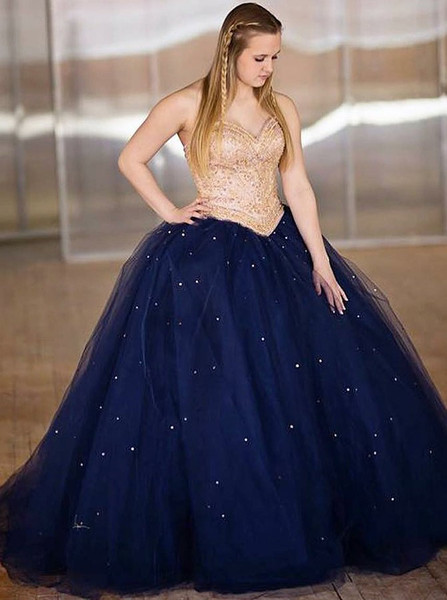 15ccf96b5e3 Ball Gown Beading Spaghetti Straps Navy Blue Quinceanera Dress