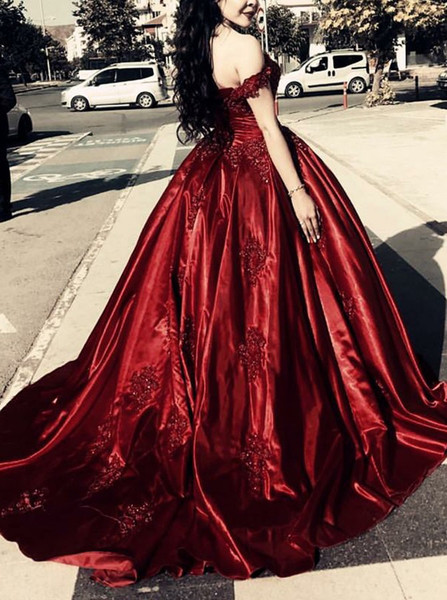 91a889b048 Ball Gown Off-the-Shoulder Appliques Dark Red Satin Quinceanera Dress