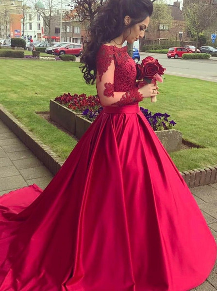 903f9dac439 Long Sleeves Red Satin Ball Gown Off-the-Shoulder Appliques Quinceanera  Dress