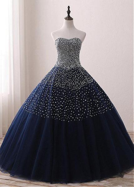 Sweetheart Beading Navy Floor Length Ball Gown Quinceanera Dresses