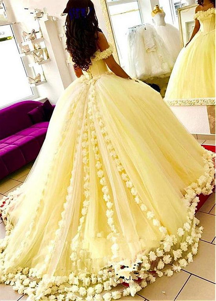 600bcd0924e Yellow Satin Off-the-shoulder Ball Gown Quinceanera Dress With 3D Flowers