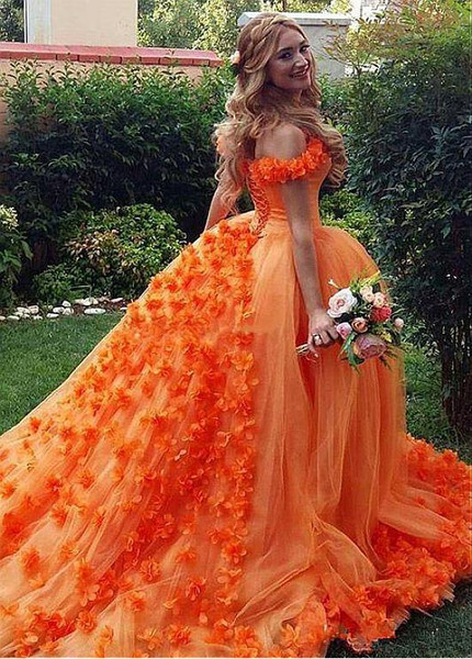 c12c6faa6c3 Orange Off-the-shoulder Ball Gown Quinceanera Dress With Handmade Flowers