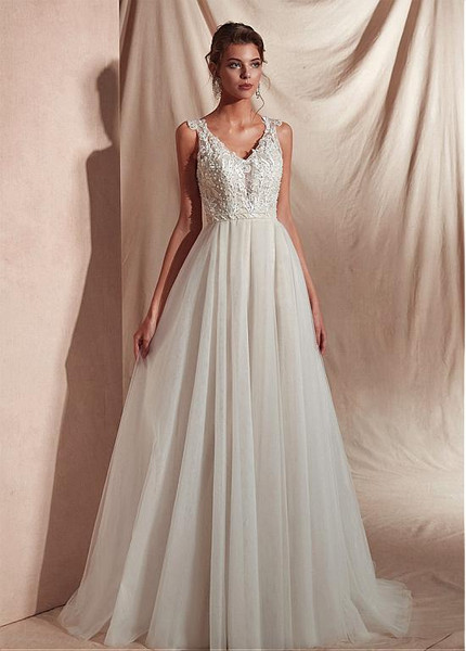 White V-Neck a Line Prom Dress