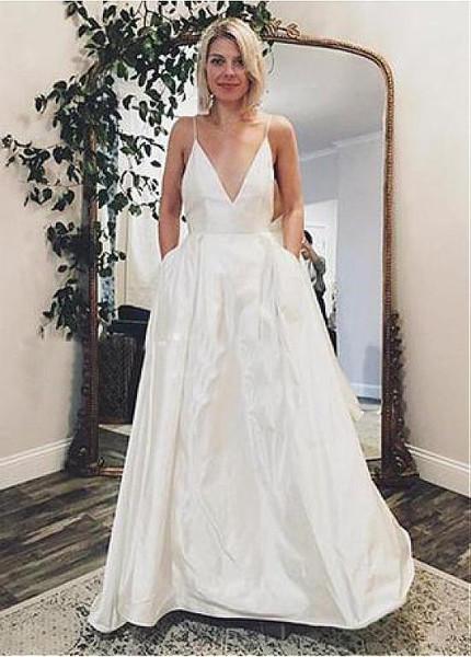 Satin Spaghetti Straps A,line Wedding Dress With Pockets