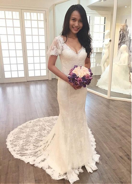 985c398c2988 Sexy Lace V-neck Short Sleeves Mermaid Wedding Dress