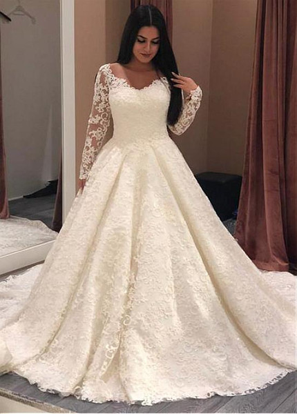 A Line Wedding Dresses.Long Sleeve Lace Jewel Elegant A Line Wedding Dresses
