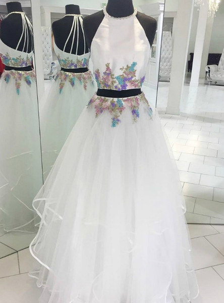 ab79784e85f Tulle Appliques Long White Two Piece Halter Prom Dress