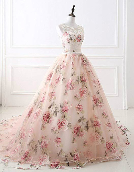 Ball Gown Pink Print Beading Floral Formal Prom Dress