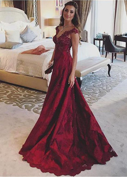 ea592e2ed8 Satin V-neck Beading Lace Appliques Burgundy A-line Evening Prom Dress