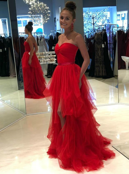 80fc16f8fb8 Shop 2019 Tulle Sweetheart Pleats Long A-Line Red Prom Dress