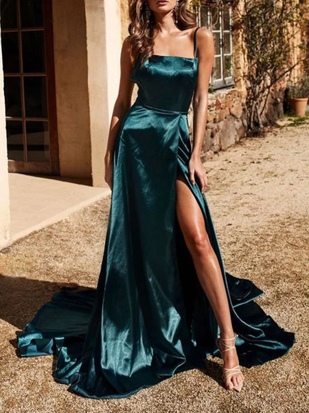 Princess Spaghetti Straps Sleeveless Dark Green Ruffles Silk like Satin Prom Dresses