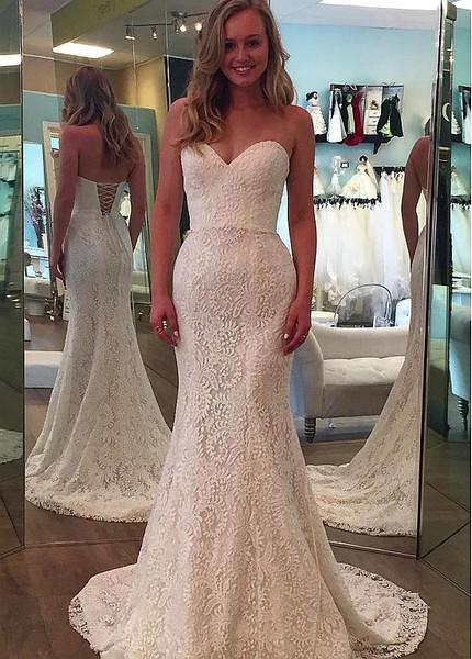 Simple Lace Sweetheart Neckline Mermaid Wedding Dress
