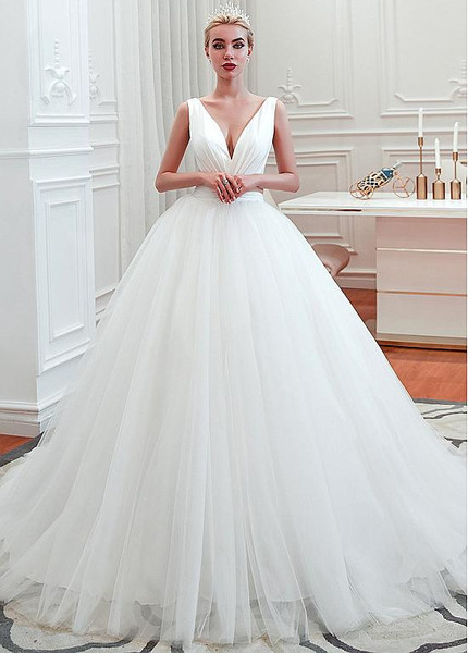 Beautiful Sexy V Neck Tulle Satin Ball Gown Wedding Dress