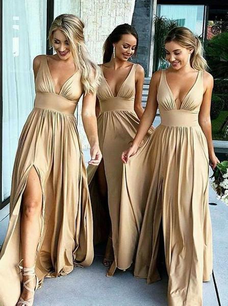 V-Neck Satin Long Champagne Bridesmaid