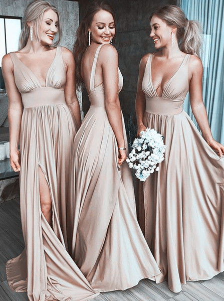 7a9c31b9ef V-Neck Satin Long Champagne Bridesmaid Dress with Split