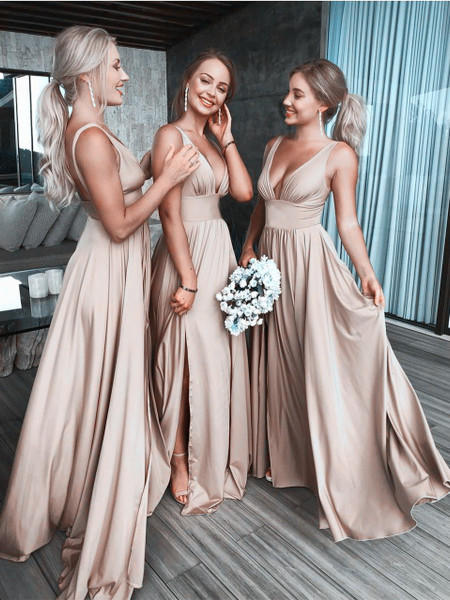 V-Neck Satin Long Champagne Bridesmaid