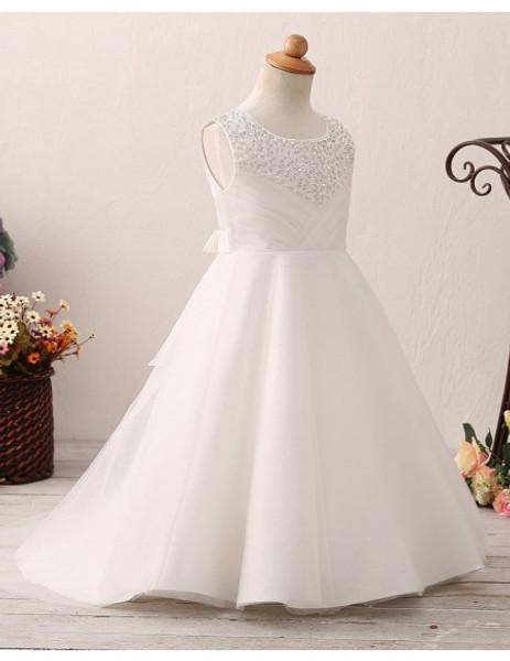949169760ef Pleated Beading Neck Ivory Floor Length Flower Girl Dress