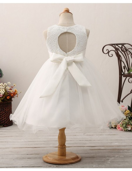 1dd7118314 Bow Sash Lace Short Tulle Flower Girl Dress