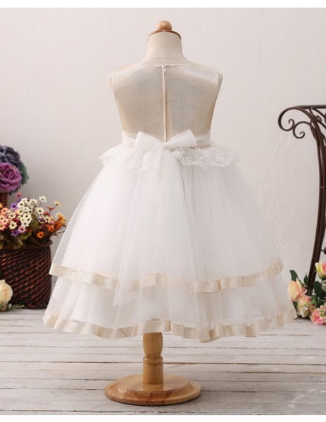 521bee447b3 Champagne Toddlers Tulle Lace Short Tutu Flower Girl Dress
