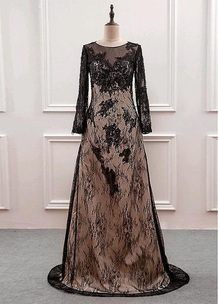 Lace Jewel Black Long Sleeves Floor-length Sheath/Column Mother Of The Bride Dress