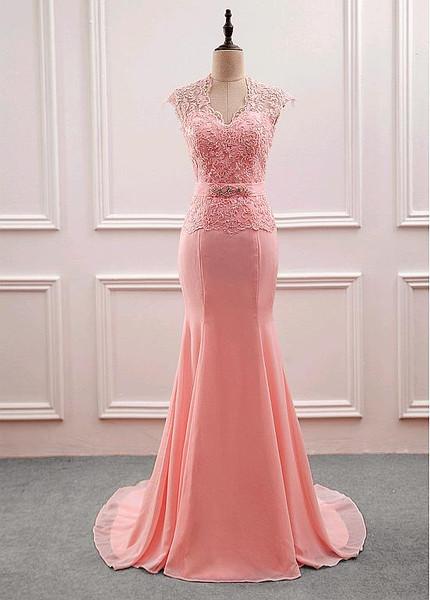 Pink Chiffon V-neck Beading Mermaid Mother Of The Bride Dress
