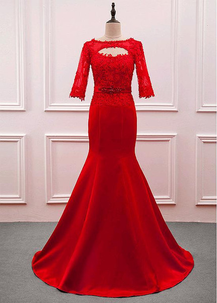 Satin Bateau Red Long Sleeves Floor-length Mother Of The Bride Dress