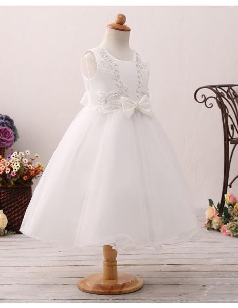 bc391eec9 Short Beaded Lace Ivory Flower Girl Dress For Little Girls