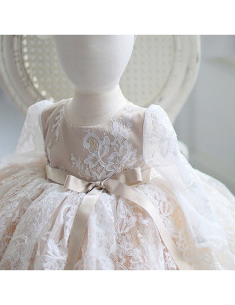 d34f0a1e0c Long Sleeves Tutu Ivory Vintage Lace Flower Girl Dress