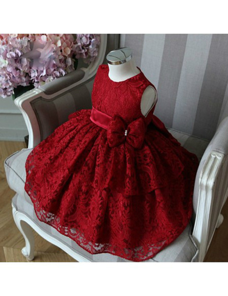 89e5916c62a Burgundy Lace Girls Pageant Gown Princess Flower Girl Dress