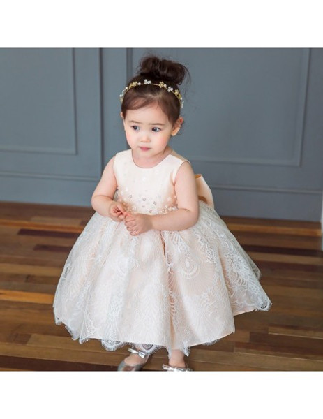 f0ce5d452 Sweet Blush Pink Lace Poofy Flower Girl Dress