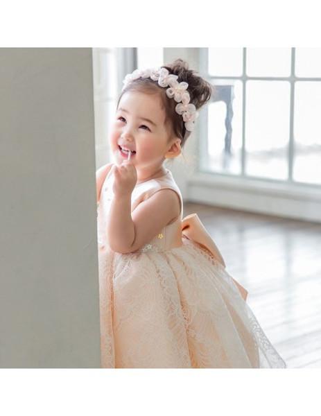 4a8348e3a92d Sweet Blush Pink Lace Poofy Flower Girl Dress