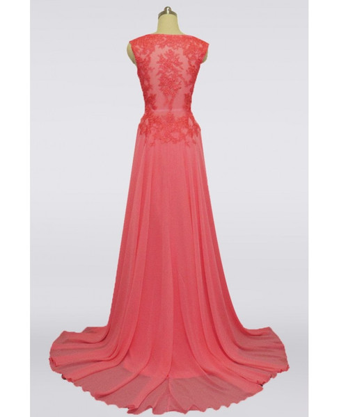 cb443f910a V-neck Lace Coral Pink Long Mother Of The Bride Dress