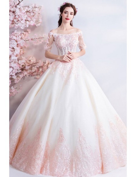 Shop Unique 2020 Princess Off The Shoulderwhite And Pink Ball Gown