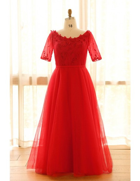 Floor Length Plus Size Red Long Mother Of The Bride Dress