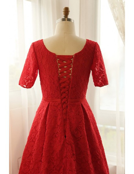 Red Lace V-neck Long Plus Size Short Sleeve Mother Of The Brides Dress