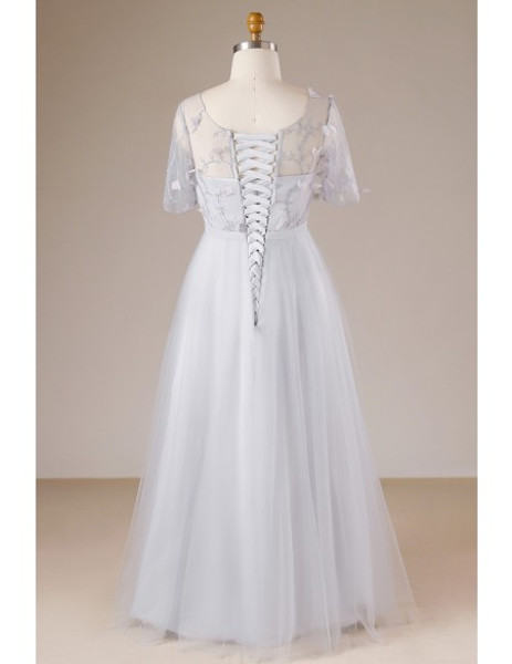 Long Tulle Grey Plus Size Mother Of The Bride Dress With Sheer Sleeves