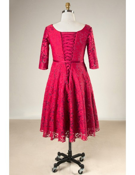 aaadd2cf8bb Plus Size Half Sleeves Burgundy Lace Short Mother Of The Brides Dress