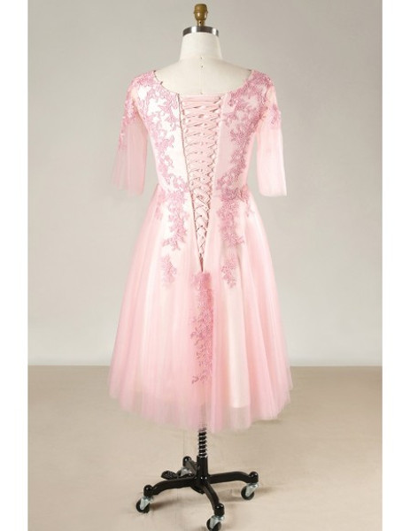 Plus Size Short Sleeves Pink Mother Of The Brides Dress