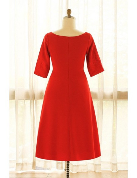 Plus Size Red Lace Short Half Sleeves Mother Of The Brides Dress