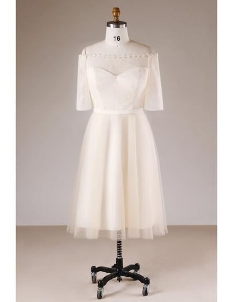 Short Lace Wedding Dress.Plus Size Champagne Short Lace Mother Of The Brides Dress