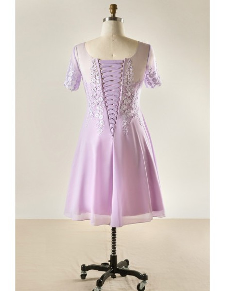 Plus Size Lace Short Lavender Mother Of The Brides Dress