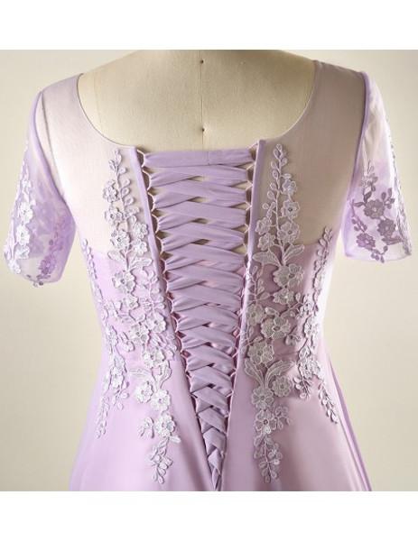 Plus Size Lace Short Lavender Mother Of The Brides Dress