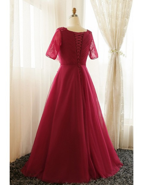 75b376ce7cb Plus Size Burgundy Long Short Sleeves Mother Of The Brides Dress