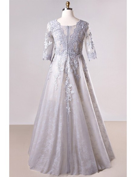 Plus Size Grey Long Lace Sleeve Mother Of The Brides Dress